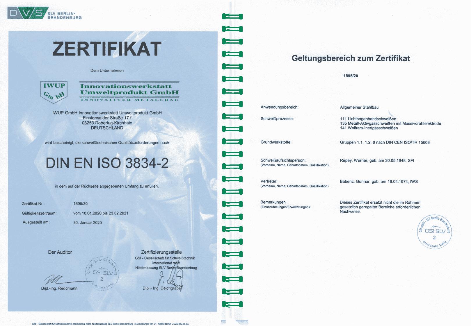 Schweißeignung DIN EN ISO 3834-2